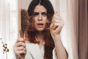 woman having hair loss